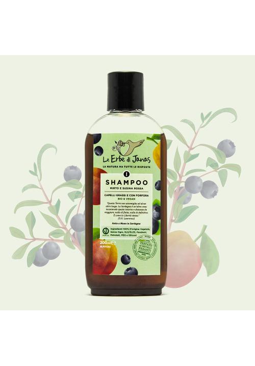 Shampoo Capelli Grassi e Forfora Mirto e Susina Rossa